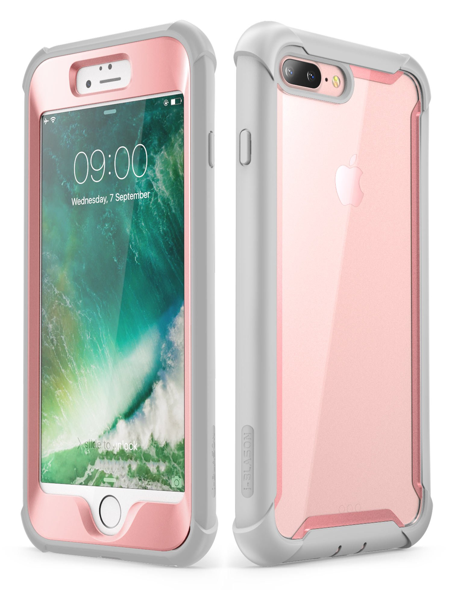 iPhone 8 Plus case, iPhone 7 Plus case, i-Blason [Ares] Full-Body Rugged Clear Bumper Case with Built-in Screen Protector for Apple iPhone 8 Plus/Apple iPhone 7 Plus (Pink)