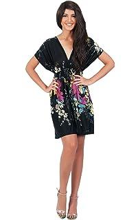 4799bee04b1 KOH KOH Womens Floral Print Summer Kimono Sleeve V-Neck Sexy Beach Mini  Dress