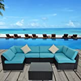Outdoor Rattan Couch Wicker 7PCS Sectional