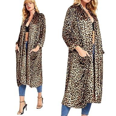 5a5667a3992 Womens Coat Autumn Winter Warm Fashion Casual Sexy Leopard Print 2019 New  Wind Coat Cardigan Long