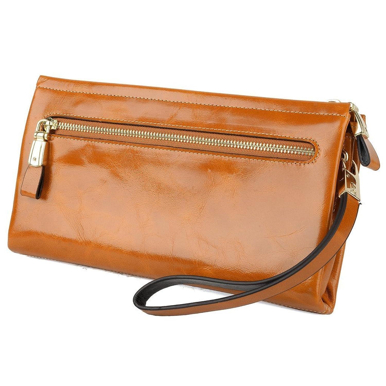 e3094cc2df3d YALUXE Women's Large Capacity Luxury Wax Genuine Leather Wristlet Wallet  With Zipper Pocket