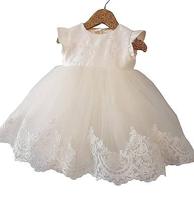 406cf8edef75b Blanc Robe Bapteme Bébé Robe Broderie de Dentelle de Fête D anniversaire Bebe  Fille (