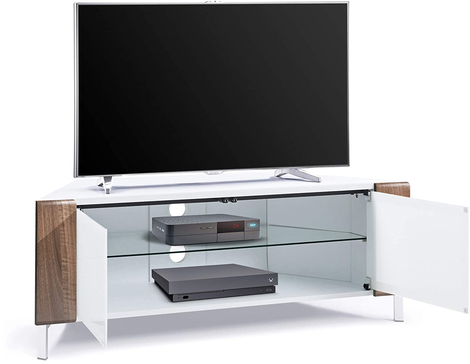 """MDA Designs CORVUS Corner-Friendly Gloss White Contemporary Cabinet with White Profiles White BeamThru Glass Doors Suitable for Flat Screen TVs upto 50/"""""""