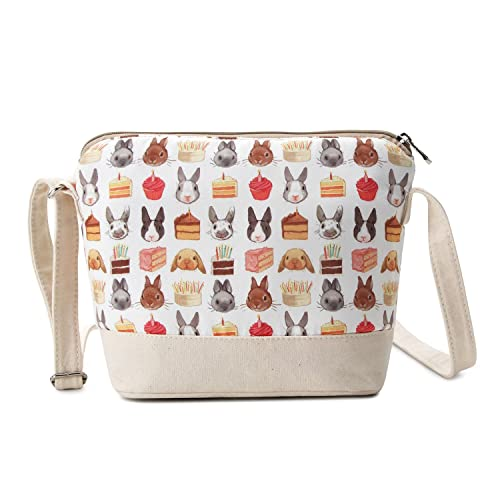 bf4a861bb Crest Design Cute Canvas Crossbody Bag Shoulder Bag Purse for Girl and  teenage (Beige Pets