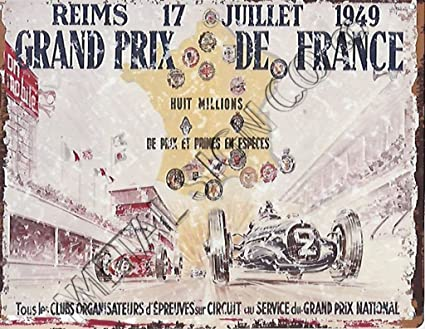 1949 GRAND PRIX de France anuncio Metal Sign Retro Vintage ...