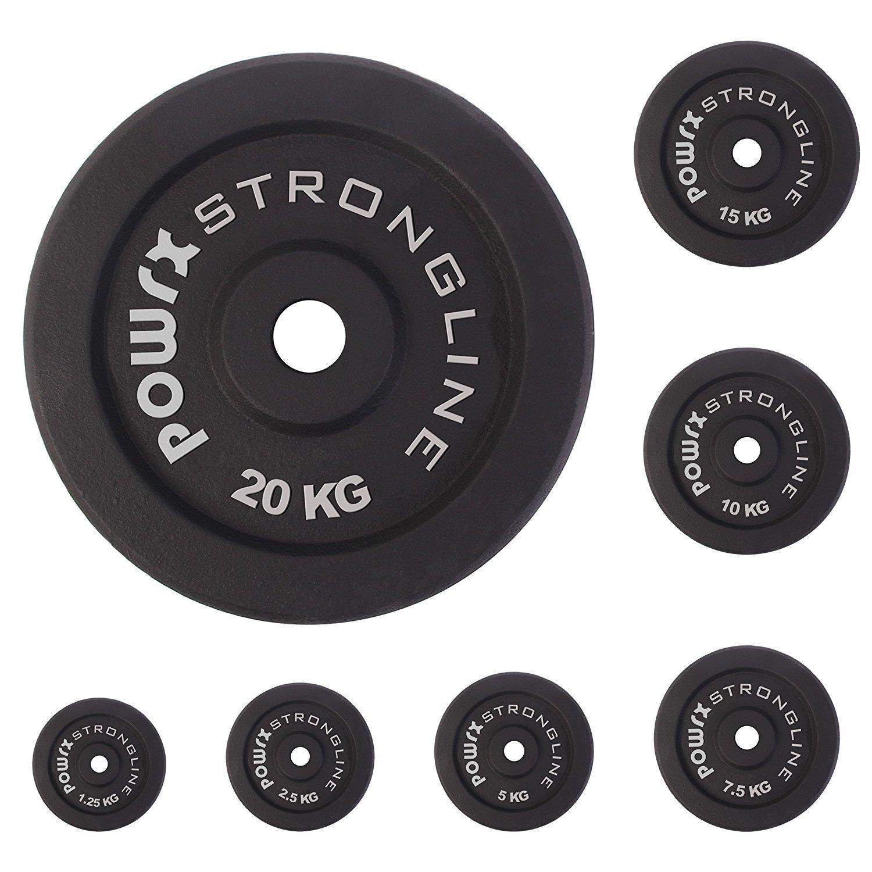 POWRX Hantelscheiben Guss 5kg 10kg 20kg 30kg 40kg 120 kg Gewichte Hantel Set Gewichtscheiben I 30/31 mm