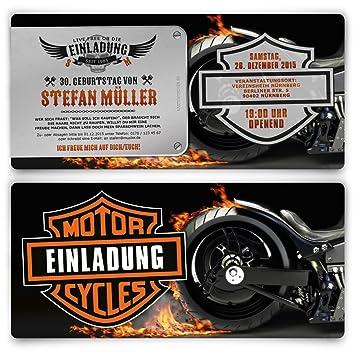 Einladungen Zum Geburtstag 50 Stuck Biker Motorrad Motiv