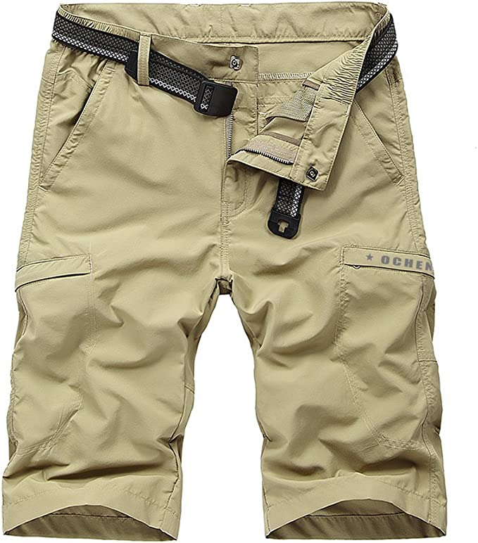 Kolongvangie Mens Outdoor Super Lightweight Quick Dry Stretchy Cargo Shorts with Multi Pockets No Belt