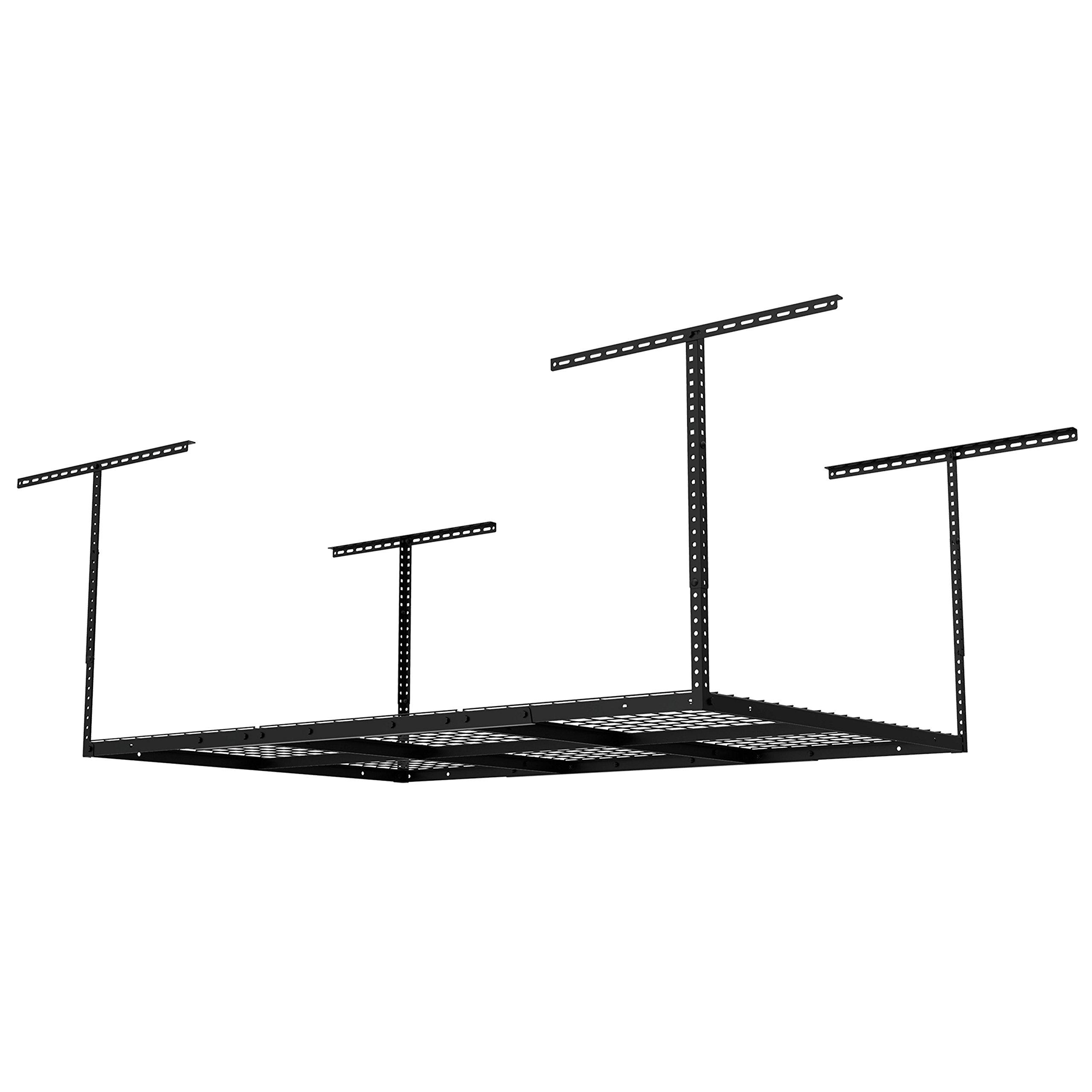 FLEXIMOUNTS 4x6 Heavy Duty Overhead Garage Adjustable Ceiling Storage Rack, 72'' Length x 48'' Width x 40'' Height, Black by FLEXIMOUNTS (Image #7)