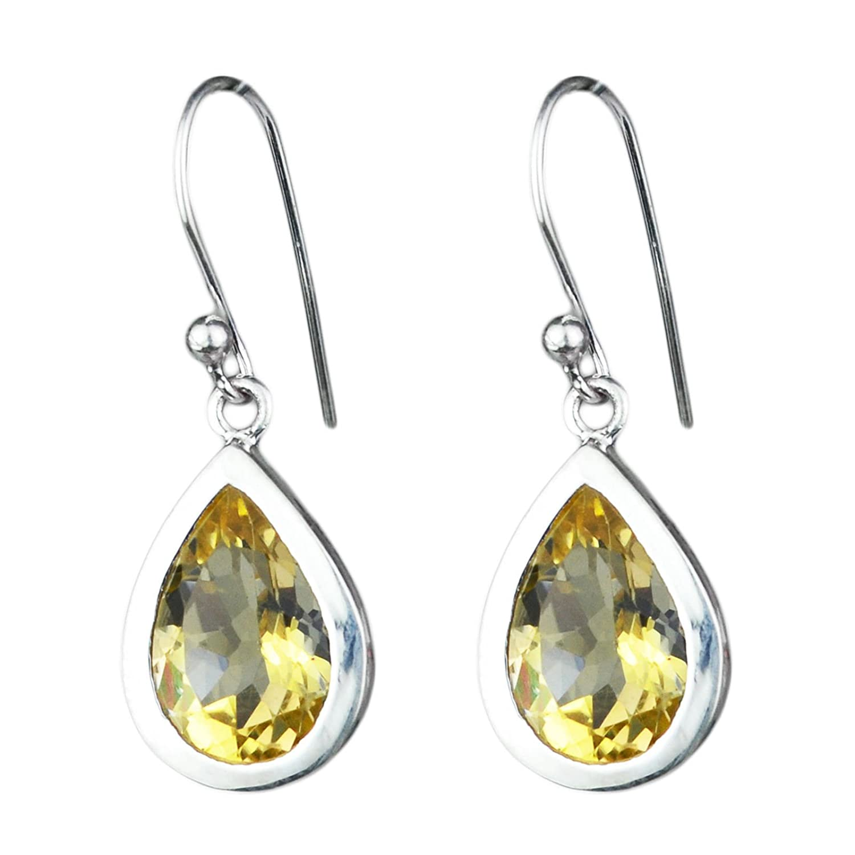 Citrine gemstone 925 sterling silver dangle earrings 3.54 gms