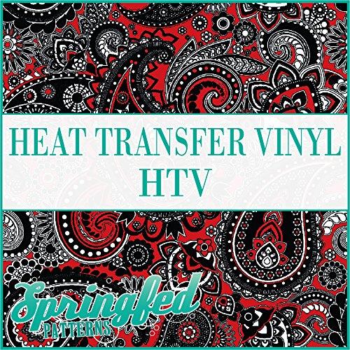 Paisley Pattern #1 in Black & Red Heat Transfer Vinyl 12x14 Sheet of HTV for Shirts Springfed Printing