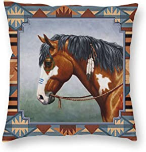 ~ Native American Horse Paint 3D Printed Pattern Square Cushiondecorative Pillow Case Home Decor Square 18x18 Inches Pillowcase/Living Room/Car/Bedroom