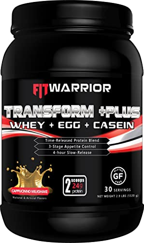 TRANSFORM PLUS Whey, Egg White, Milk Casein Protein Blend Cappuccino Milkshake , 24g Protein, 2.9 Pound Powder, 30 Serving – Meal Replacement, Anti-Hunger 4hr Time-Release Appetite-Control Formula