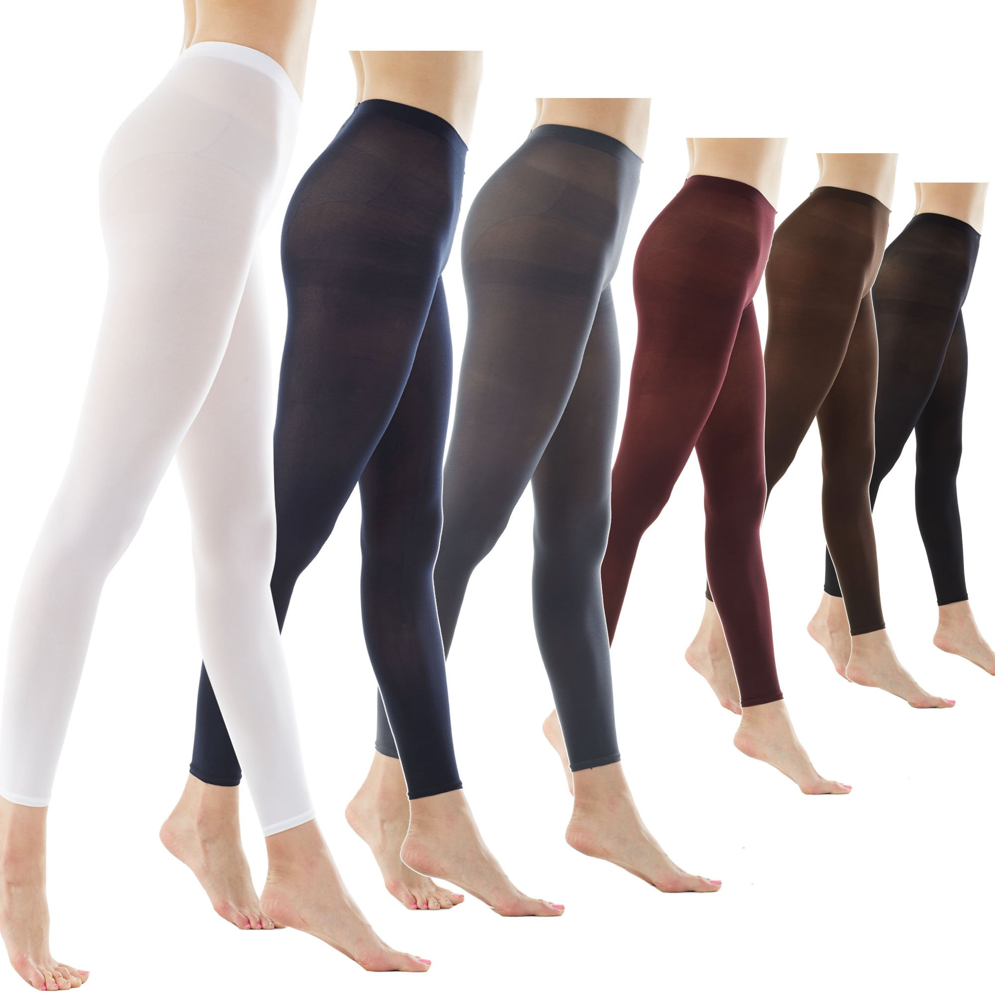 Women's 80Denier Semi Opaque Solid Color Footless Pantyhose Tights 2pair or 6pair (X-Large, 6PAIR - Black/Darknavy/Darkgray/Brown/Maroon/White)