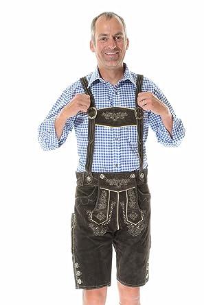f068503b71 Amazon.com: Authentic Lederhosen German Lederhosen Outfit Bavarian  Clothing, BERGKRISTALL dark brown: Clothing