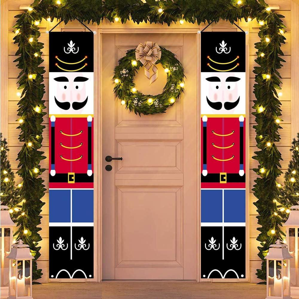HMASYO Christmas Nutcracker Banner - Nutcracker Christmas Decorations Welcome Sign for Porch Front Door Fireplace Garden Indoor Outdoor Home Holiday Party Decor, 600D Oxford Fabric (Nutcracker-B)