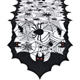 Smurfs Yingda Happy Halloween Table Runner Bats and Spiders Table Runner Spiderweb Black and White Table Runner for…