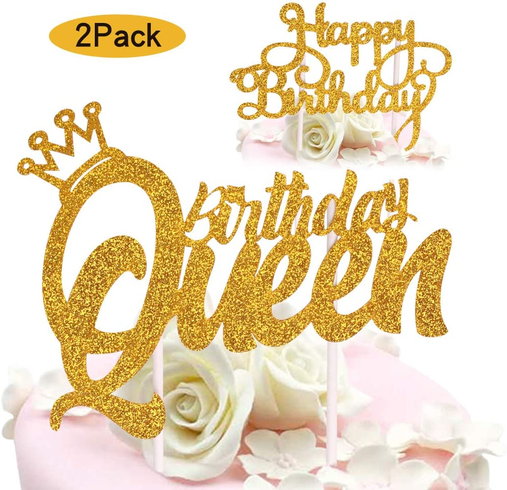 Enjoyable Amazon Com Queen Birthday Cake Topper Gold Glitter Happy Birthday Funny Birthday Cards Online Fluifree Goldxyz