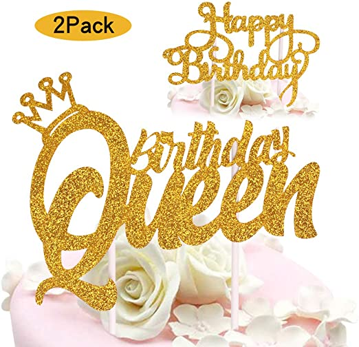 Admirable Amazon Com Queen Birthday Cake Topper Gold Glitter Happy Birthday Funny Birthday Cards Online Alyptdamsfinfo