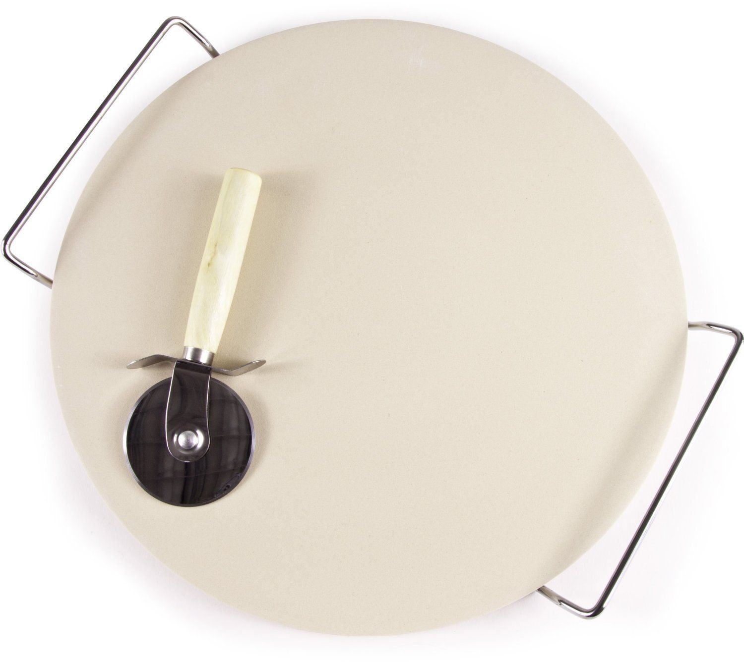 Kabalo 33cm Pizza Stone and Wooden Handle Pizza Wheel Slicer Set