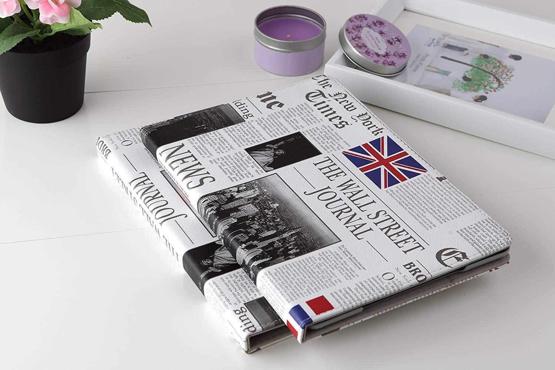Apple iPad Mini 4ケース LiVitech(TM) ウォールストリートジャーナル 新聞 雑誌 アメリカ国旗 英国国旗デザイン フォリオ PUレザー ハードケース iPad Mini 第4世代 A1583 A1550用 IPAD MINI 4 01 IPAD MINI 4  B07LFKX3BX