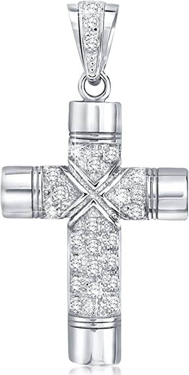 Big Cross Pendent Long Chain Necklace in White Gold Filled Sparkle AAA Cz Stones