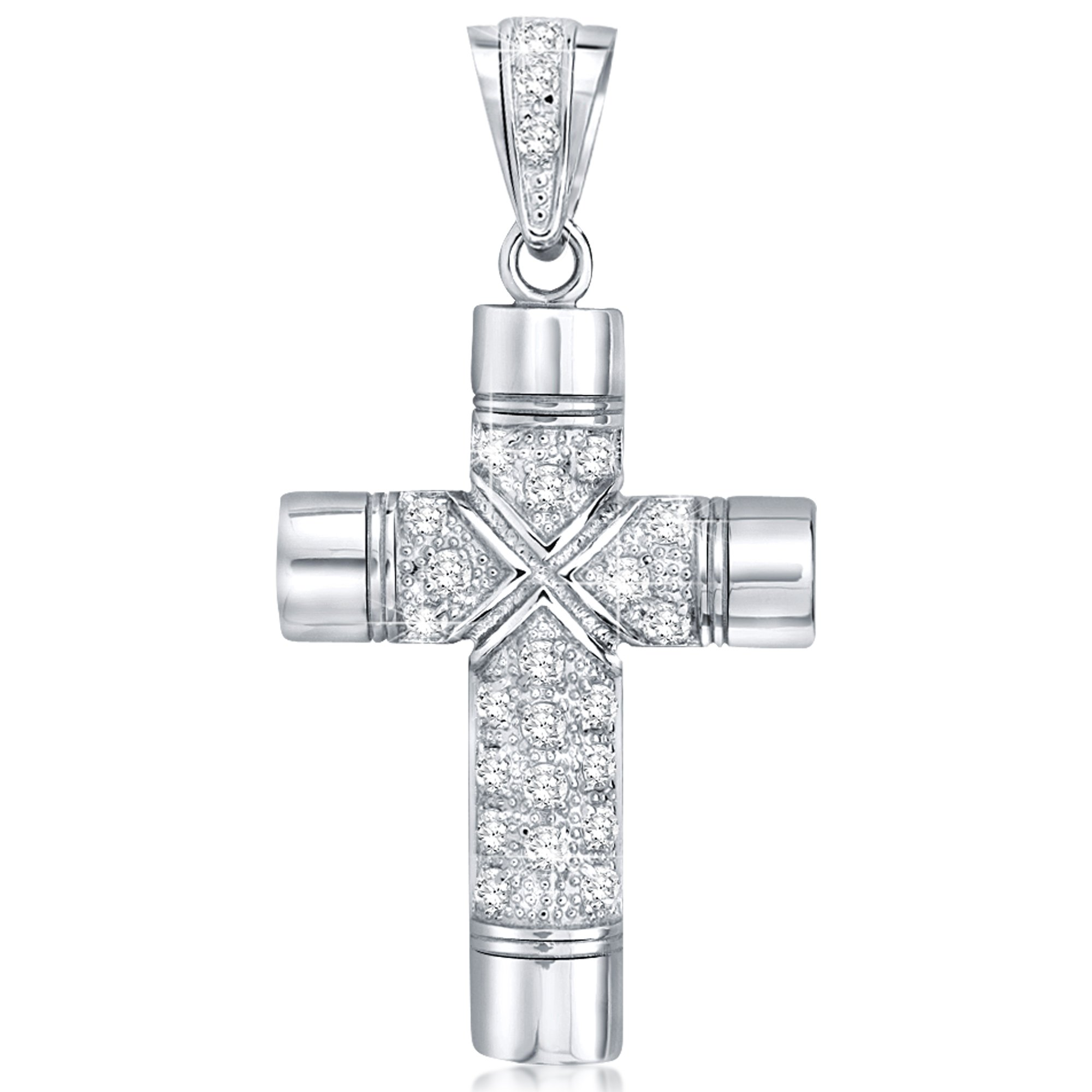 Sterling Silver .925 Large Cross Pendant with Round Cubic Zirconia Stone's. Large Bail to fit Wide Chains, Hand Polished, Platinum Plated, Appears Identical to Platinum or White Gold.
