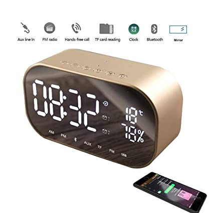 Bluetooth Lautsprecher Mini Digital Wecker Mp3 Intelligentes Audio Subwoofer Alarm Clocks & Clock Radios