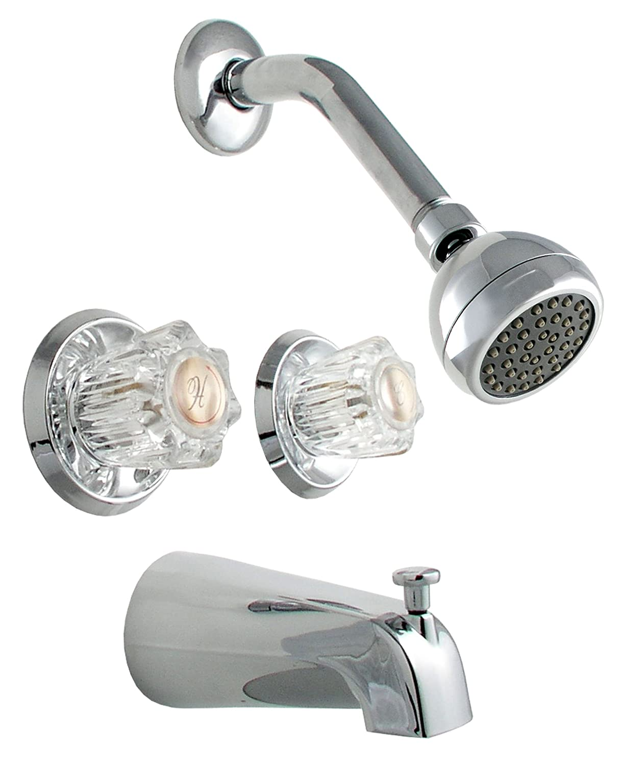 LDR 011 8700 Double Handle Tub and Shower Faucet, Chrome - Two ...