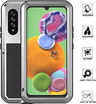 LOVE MEI Samsung Galaxy A90 5G Funda, Aluminum Metal+Vidrio ...