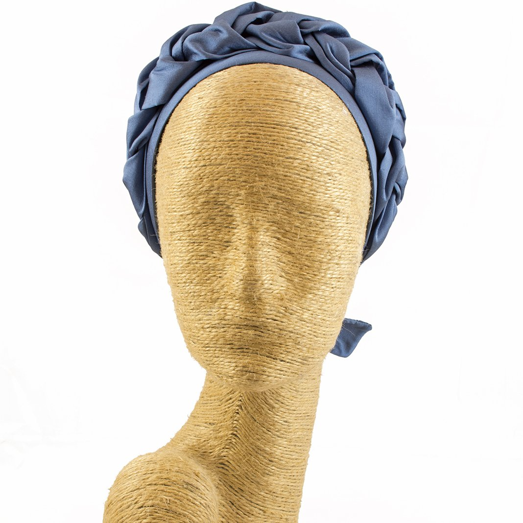 Silk Fascinator, Headdress, Headpiece, Occassion Hats, Royal Hats, Millinery, Worldwide Free Shipment, Delivery in 2 Days, Customized, Designer Fashion, Derby, Hair braid, Head wrap, Boho Chic, Blue