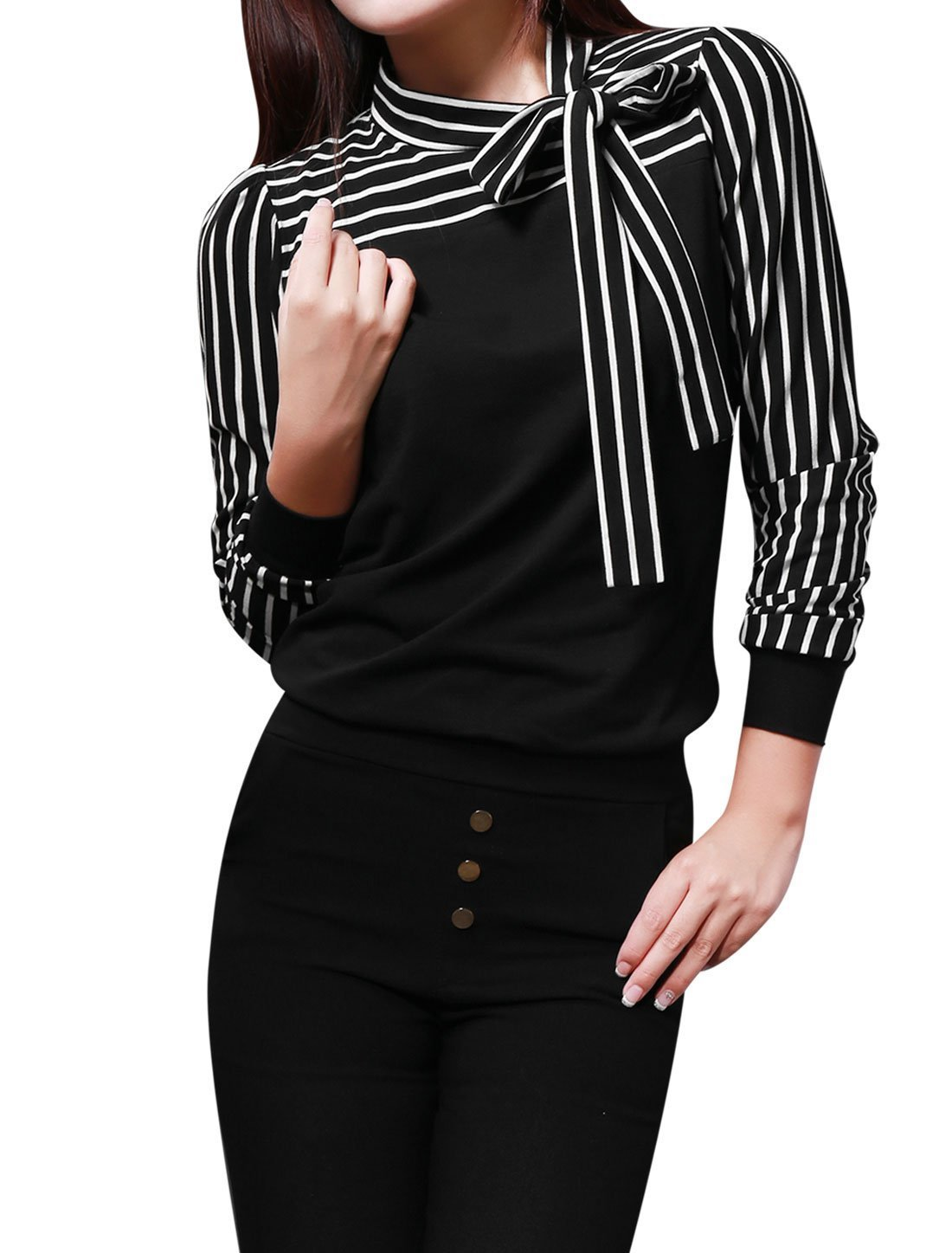 2e89c4d009 Allegra K Women s Long Sleeve Tie-bow Neck Striped Shirt Tops product image
