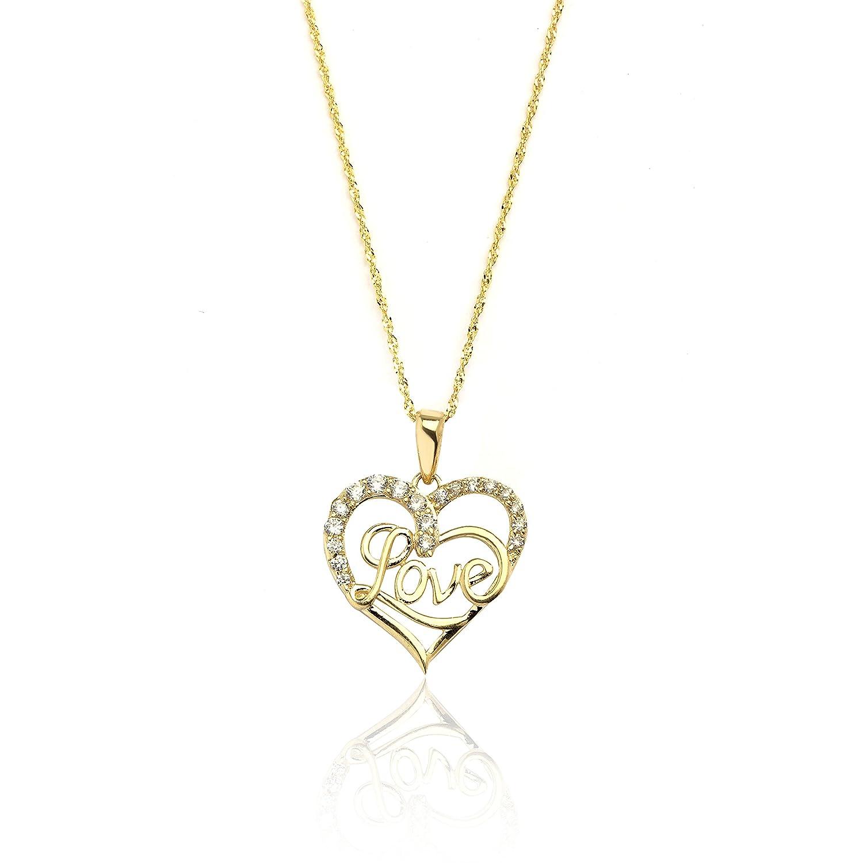10k Yellow Gold Heart CZ Cursive Love Pendant Necklace