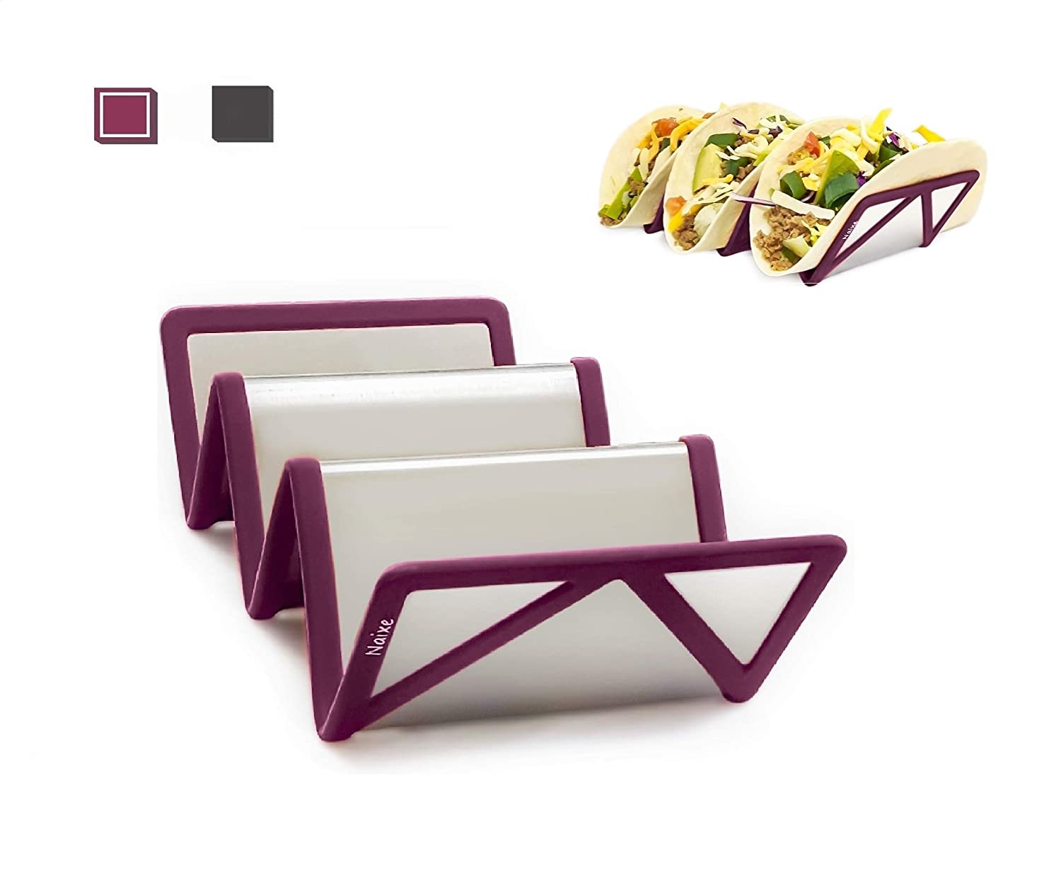 Taco Holder with Silicone Sleeve -Set of 2-Non-slip Design with Enhanced Stability -Dishwasher and Oven Safe - Made ofNon-toxic Materials -by Naixe