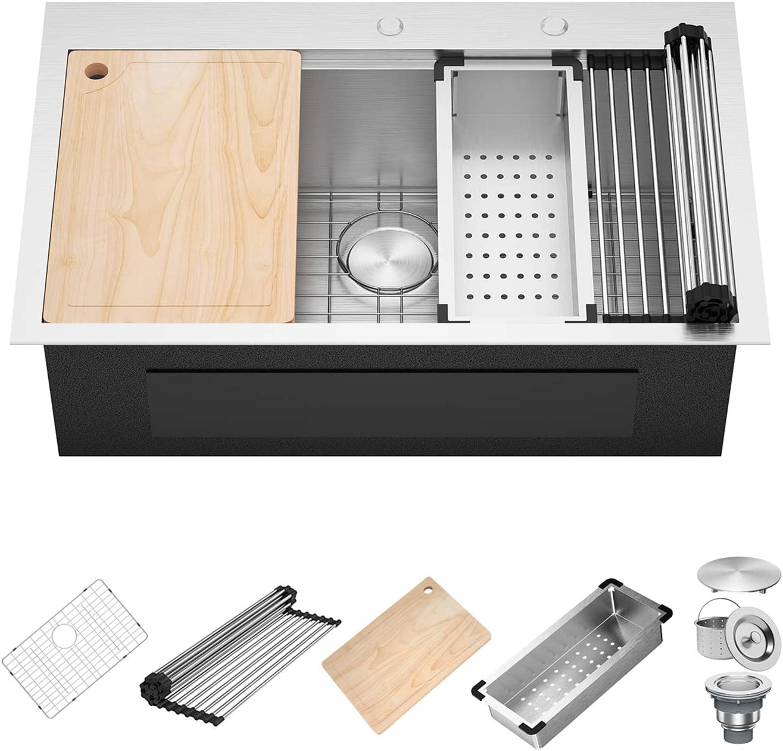 X Home 30 x 22 Inch Drop In Kitchen Sink, 16 Gauge Stainless Steel Top Mount Workstation Sink, Single Bowl Kitchen Sinks with All Sink Accessories