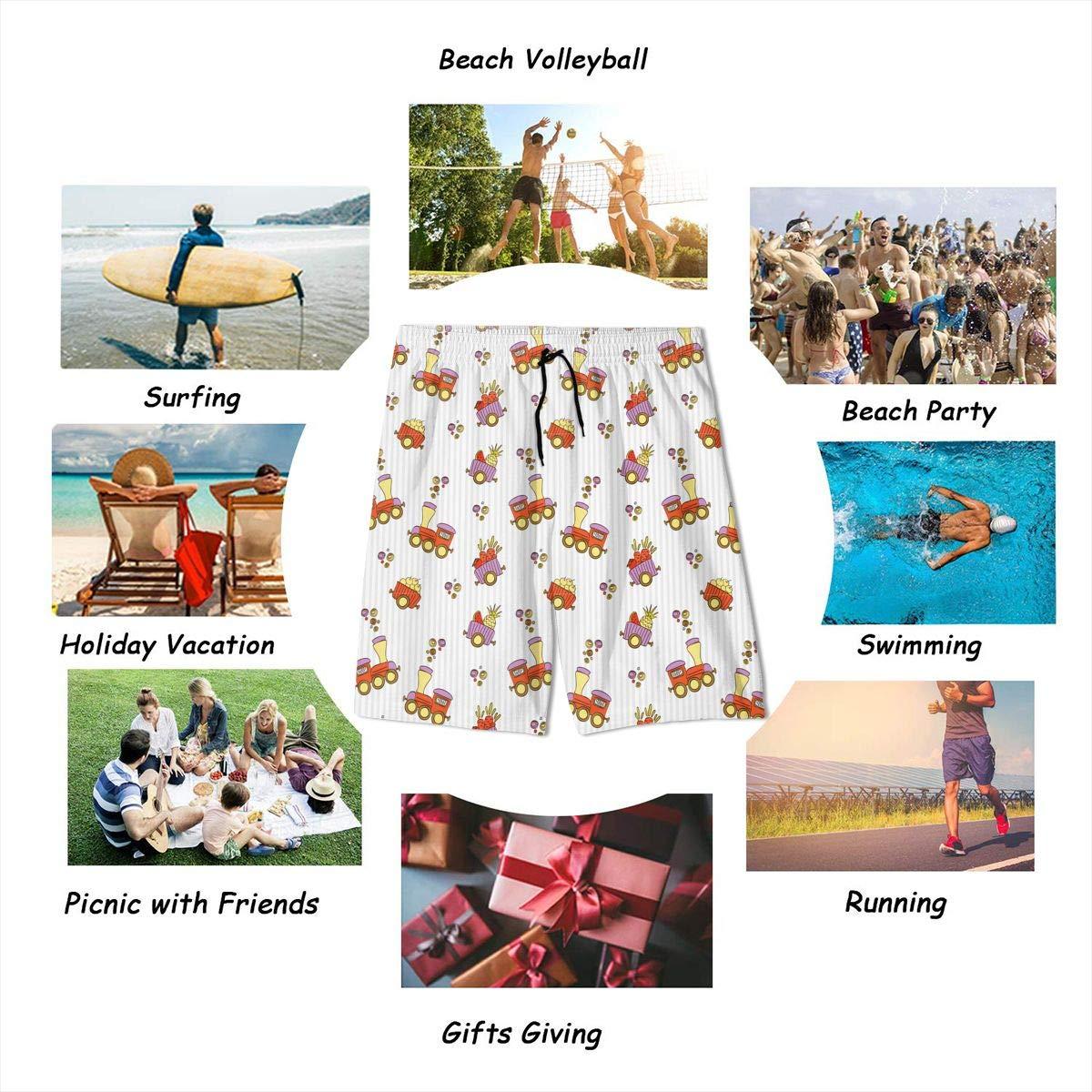 Polyester Many Small Locomotives Pattern Swimsuit with Pockets GI80@KU Teen Casual Swim Trunks