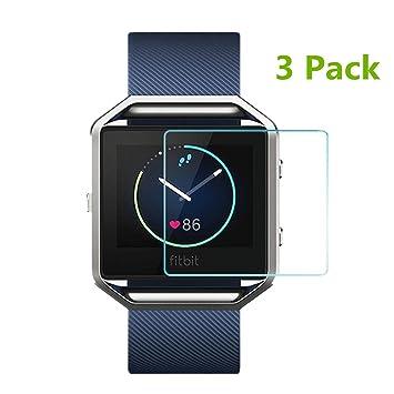 Paquete de 3protectores de pantalla de cristal templado para reloj inteligente Fitbit Blaze de