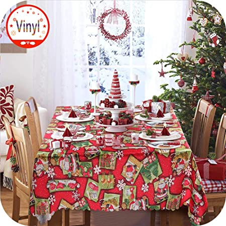 Amazing Xmas Tablecloths Table Runners with Candle Bells Santa Claus Square New