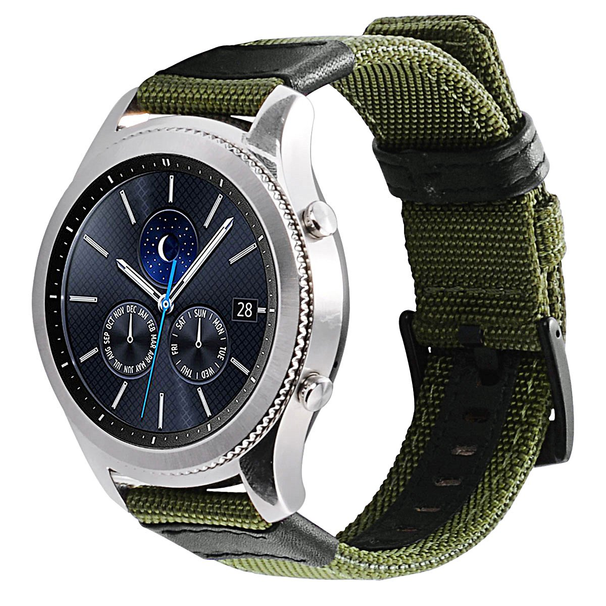 Gear S3 Bands Nylon, Maxjoy S3 Frontier Classic Band 22 mm Woven Nylon Replacement Strap Large Sport Wristband Bracelet with Stainless Steel Metal Buckle for Samsung Gear S3 Smart Watch, Army Green by Maxjoy (Image #9)