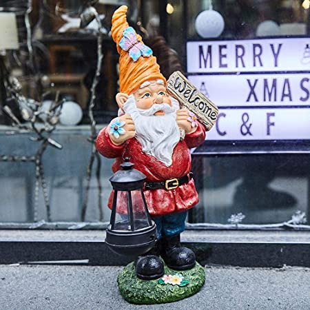 Estatuas para jardín Enano Llevar Linterna Solar Lámparas De Jardín Esculturas De Arte Figura De Resina Jardín Ornamento para Al Aire Libre Patio Balcón Red Santa Claus ~20 * 17 * 44CM: Amazon.es: Hogar
