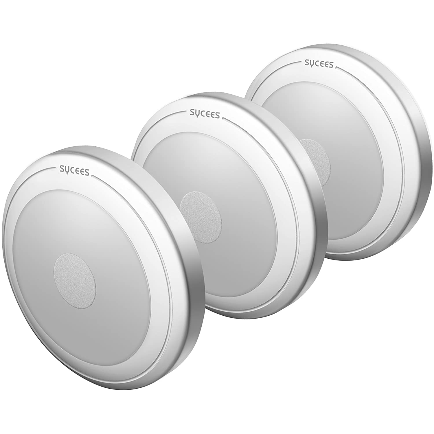 Sycees Touch Activated LED Puck Lights Dimmable Battery Operated Stick Anywhere Daylight White 3 Pack