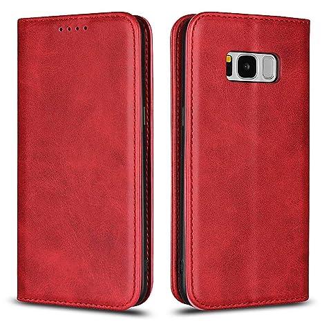 DENDICO Funda para Samsung Galaxy S8, Carcasa Plegable Cartera Piel Premium, Carcasa de Cuero diseñada con Cartera, Cierre Magnetico y Soporte ...