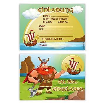 Einladungskarten Kindergeburtstag Jungen Mädchen 8 Stück Karten   Wikinger