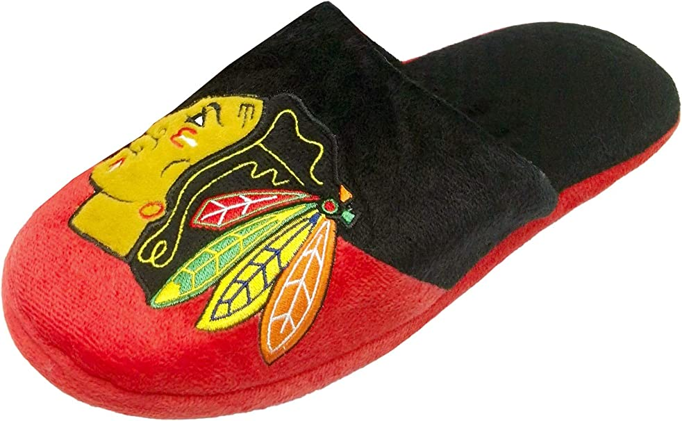 Pair of Chicago Blackhawks Colorblock Slide Slippers Team Color House shoes NEW
