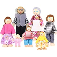 Toyvian Muñecas de madera Figura familiar Juguete Familia