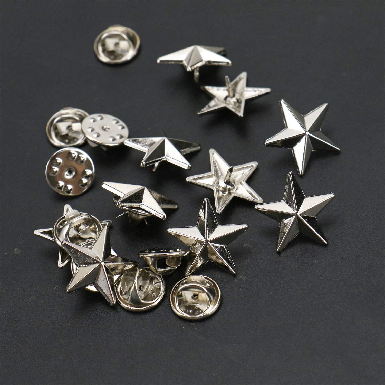 68c041c6bcc JETEHO 10pcs 3/4 Silver Star Lapel Pin 3D 5 Point Star Achievement Pins Pins