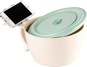 Shopwithgreen Microwave Noodle Bowls With Lid - 40 OZ Large Wheat Straw Soup Mug with Phone Holder - Microwave & Dishwasher Safe, for soup, noodle, ramen