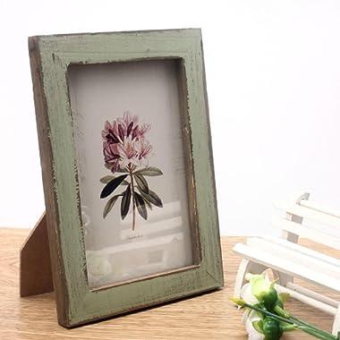 Kingfansion Vintage Photo Frame Home Decor Wooden Wedding Casamento Pictures Frames (Green)