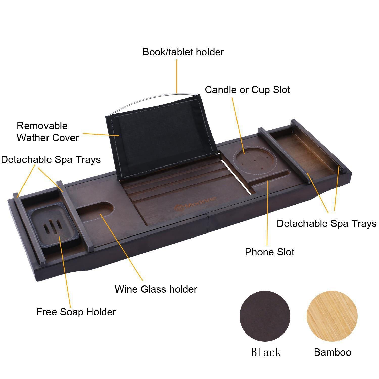 Amashion Luxury Extendable Bathtub Caddy Tray, Luxury Adjustable Non ...