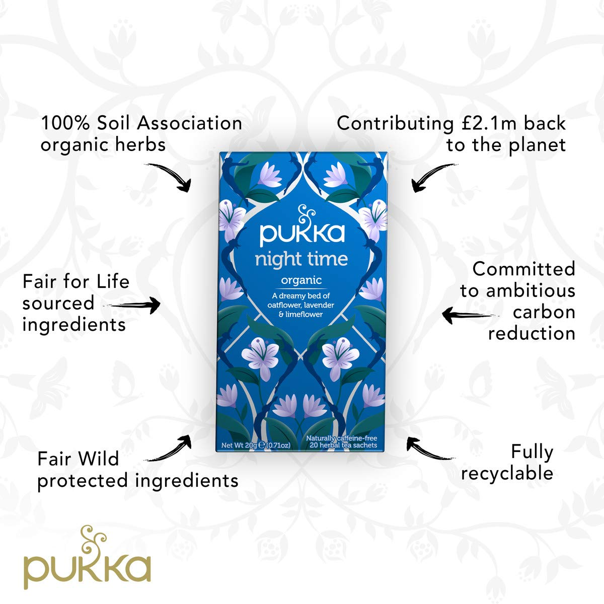 Pukka Herbs Night Time, Organic Herbal Tea With Valerian (3 Pack, 60 Tea Bags